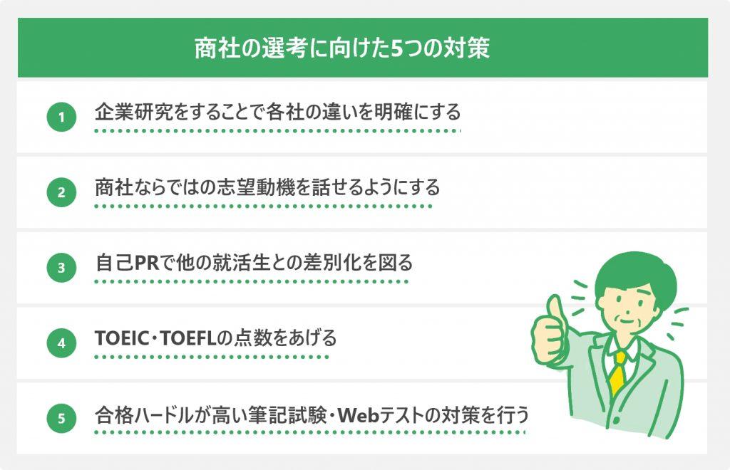 商社の選考に向けた5つの対策