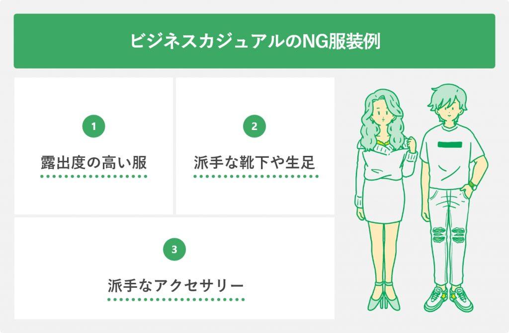 ビジネスカジュアルのNG服装例